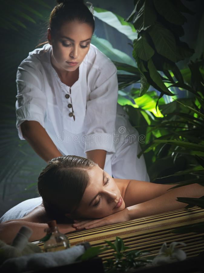 Portrait of young beautiful woman in spa royalty free stock images