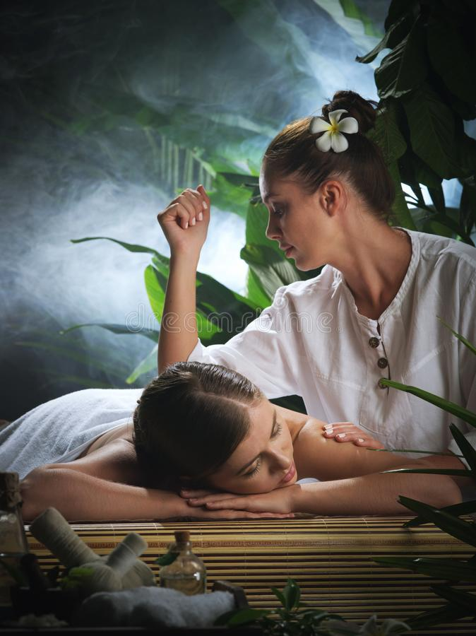 Portrait of young beautiful woman in spa royalty free stock image
