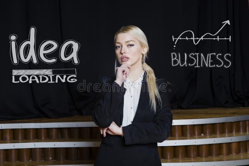 Portrait of a beauty blond busiensswoman in a black suit standing near white sketchs. Portrait of a young beauty blond busiensswoman in a black suit standing stock photos