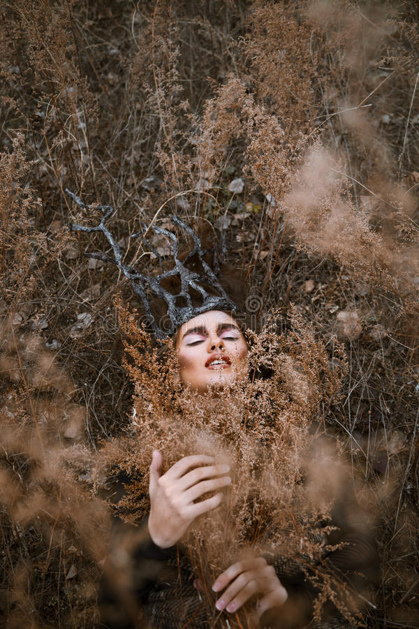 Portrait of young beauty woman with wooden crown lying in the grass. royalty free stock photos