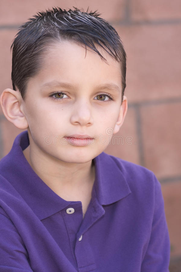 Download Portrait Young Biracial Boy By Brick Wall Stock Image - Image: 11808299