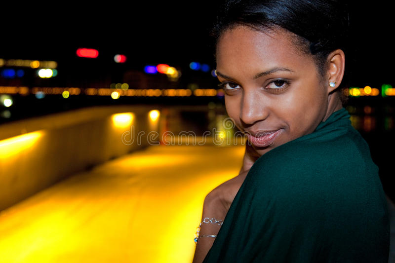 Download Portrait Of Young Black Woman In City At Night. Stock Image - Image: 18811355