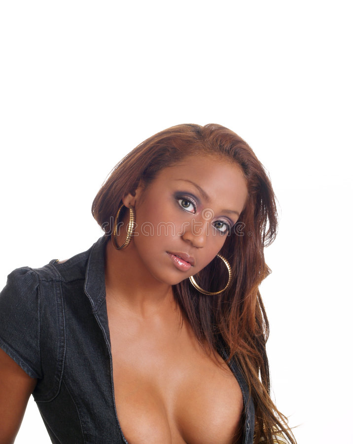 Portrait of young black woman with cleavage. Young mixed black woman portrait with cleavage royalty free stock photos