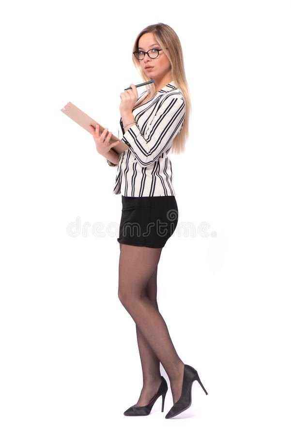 Portrait of Young Blond Secretary Taking Notes Isolated on White stock photos