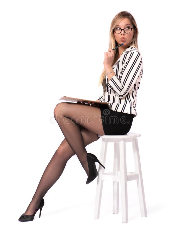 Portrait of Young Blond Secretary Taking Notes with Isolated on White royalty free stock photo