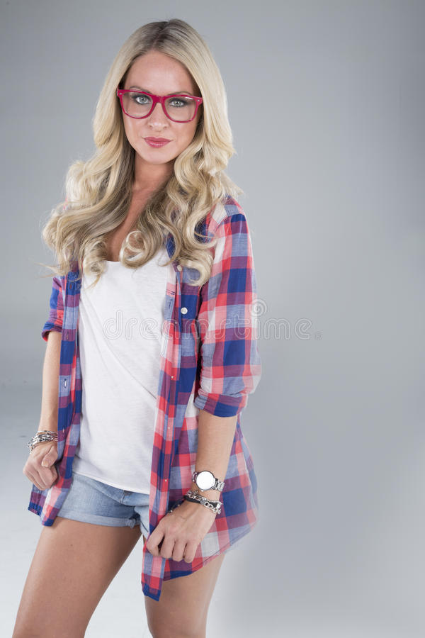 Portrait of young blond woman stock image