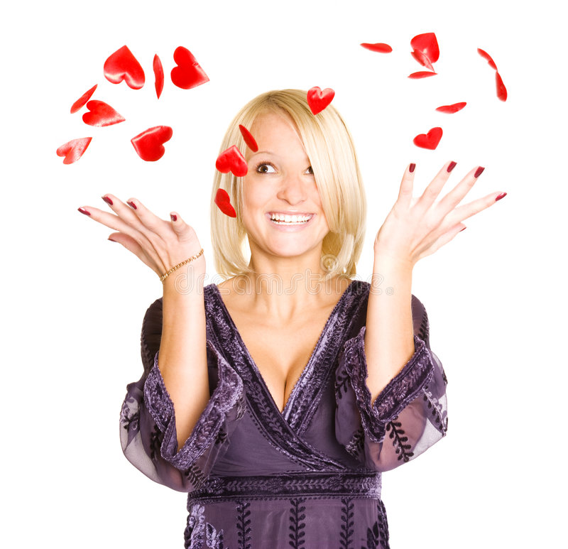 Portrait of young blond woman with red valentine h royalty free stock image