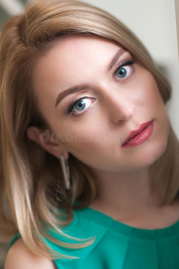 Portrait of a young blonde girl stock photography