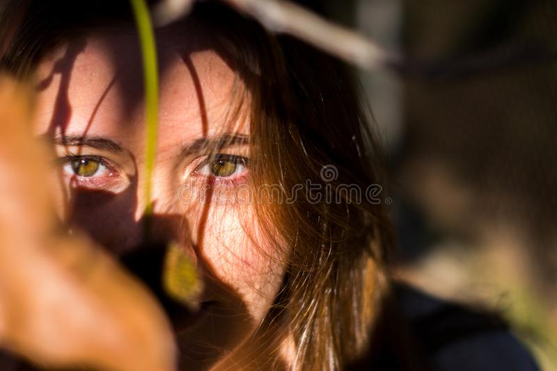 Portrait of a young blonde girl through some dry leaves in autumn stock photos