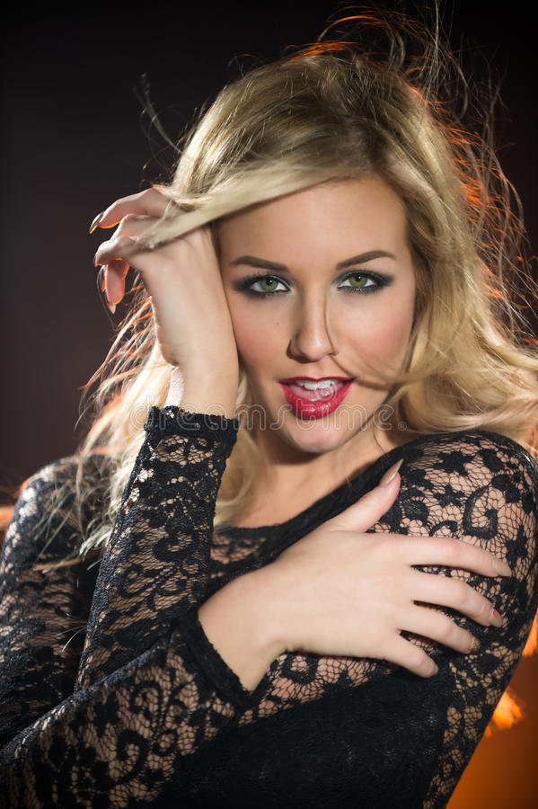Portrait young blonde sensual woman royalty free stock photo