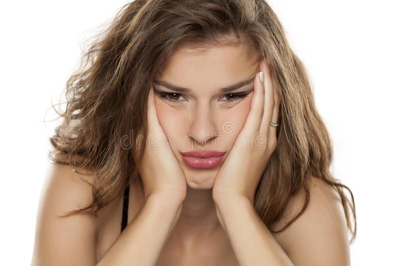 Young bored woman royalty free stock images