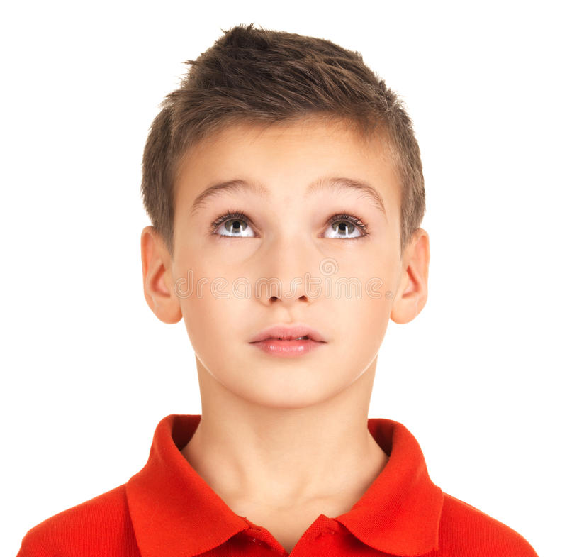 Download Portrait Of Young Boy Looking Up Royalty Free Stock Image - Image: 27903656