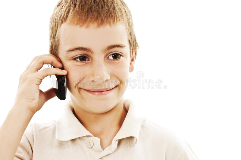 Download Portrait Of A Young Boy Speaking On Cellphone Stock Photo - Image of handsome, communication: 20656822
