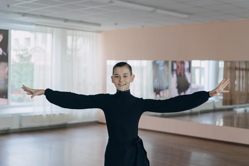 Portrait of a young boy who is engaged in dancing royalty free stock photos