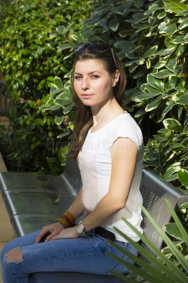Portrait of young brunette royalty free stock photo