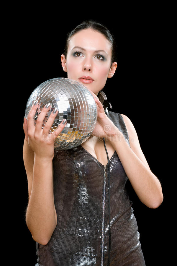 Download Portrait Of Young Brunette With A Mirror Ball Royalty Free Stock Photos - Image: 27394708