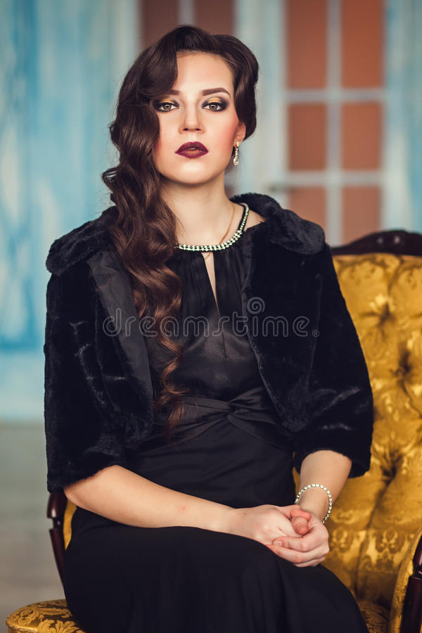 Portrait of a young brunette stock images