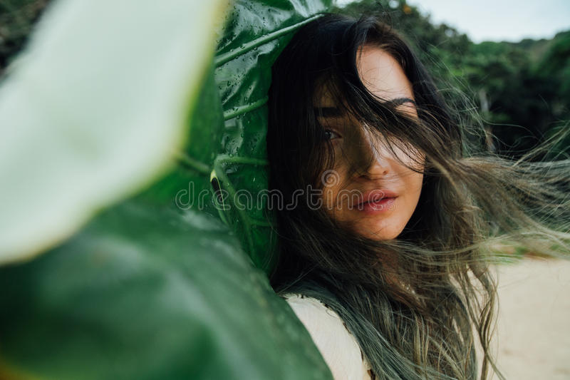 Portrait young brunette woman with tropical palm tree leaf royalty free stock images