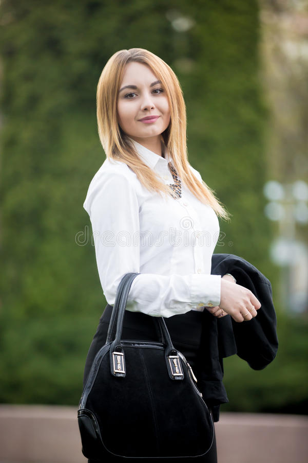 Portrait of young business lady stock photos