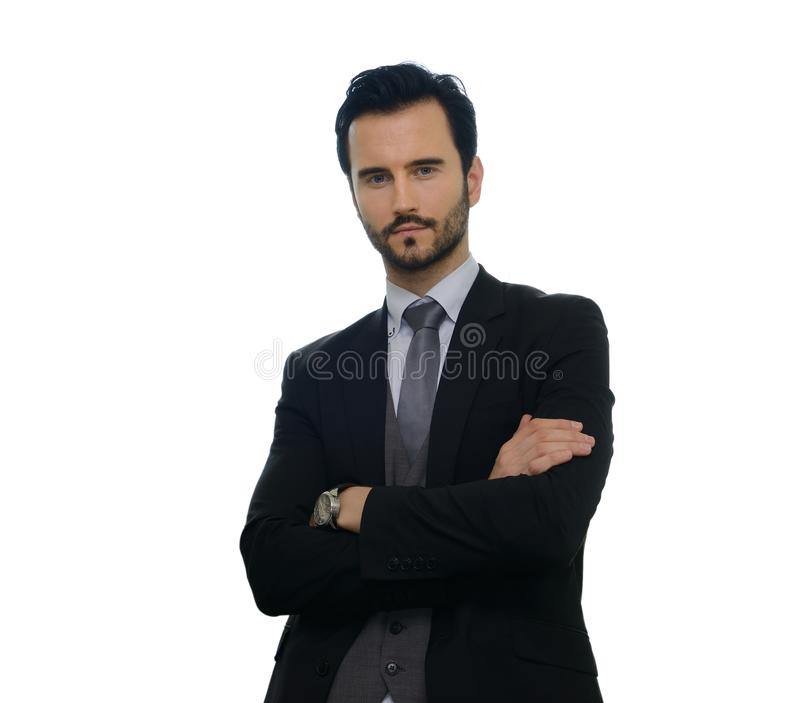 Business man. Portrait of young business man isolated on white background stock image