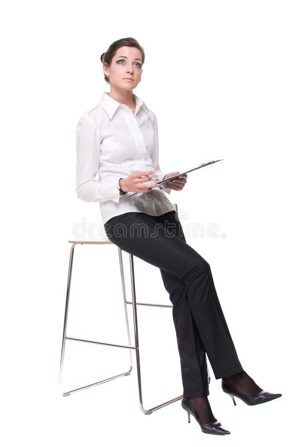 Download Portrait Of Young Business Woman On Chair Stock Image - Image of casual, isolated: 13385701
