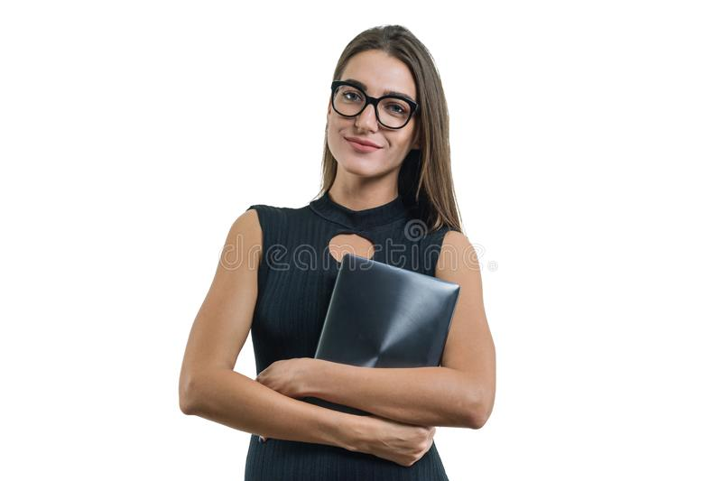 Portrait of business woman in glasses black dress with digital tablet royalty free stock photography