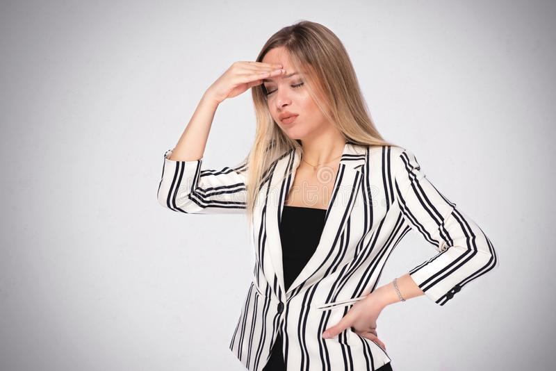 Portrait of a Young Business Woman Having Headache stock photos