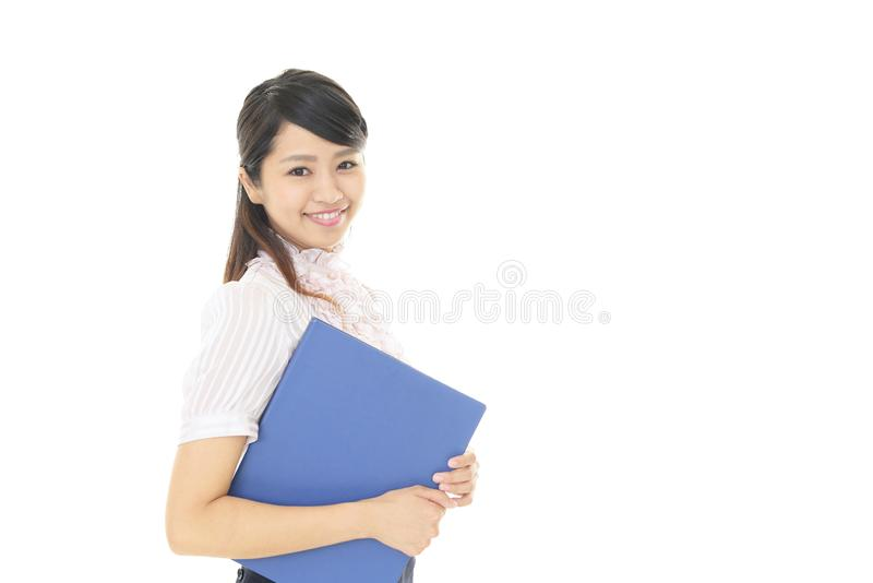 Smiling business woman. Portrait of a young business woman stock photo
