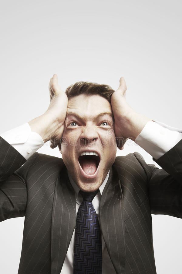 Download Portrait Of Young Businessman Shouting Against Stock Photography - Image: 22048902