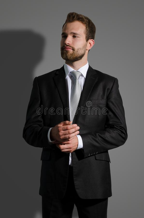 Portrait of young businessman standing in studio stock images
