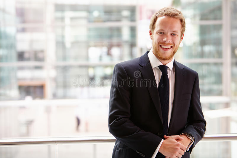Portrait of a young businessman, waist up royalty free stock image