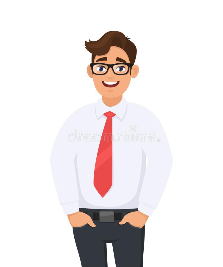 Portrait of young businessman in white shirt and red tie, hands in pant`s pocket, standing against white background. Human emotion and businessman concept stock illustration