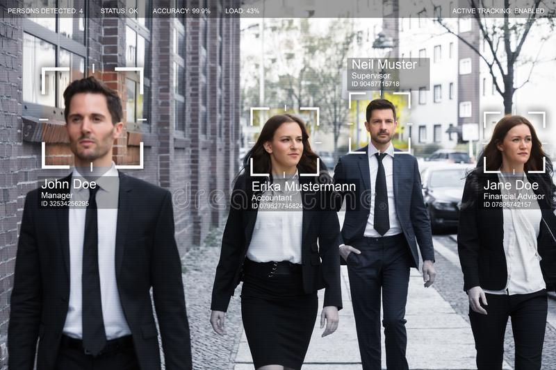 Businesspeople Face Recognized With Intellectual Learning System. Portrait Of Young Businesspeople Face Recognized With Intellectual Learning System stock photo