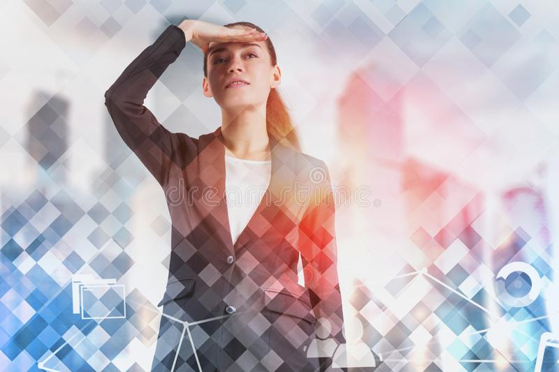 Woman looking forward in city, internet icons stock image