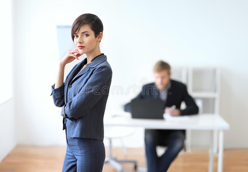 Portrait of a young businesswoman leader. In the office royalty free stock images