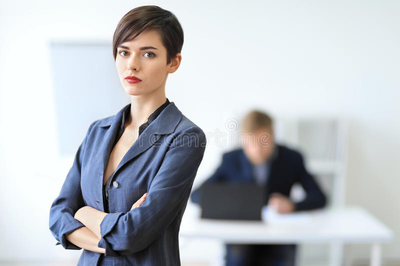 Portrait of a young businesswoman leader. In the office stock photography