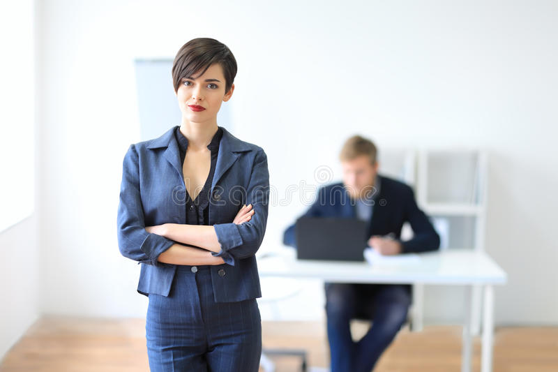 Portrait of a young businesswoman leader. In the office stock photos