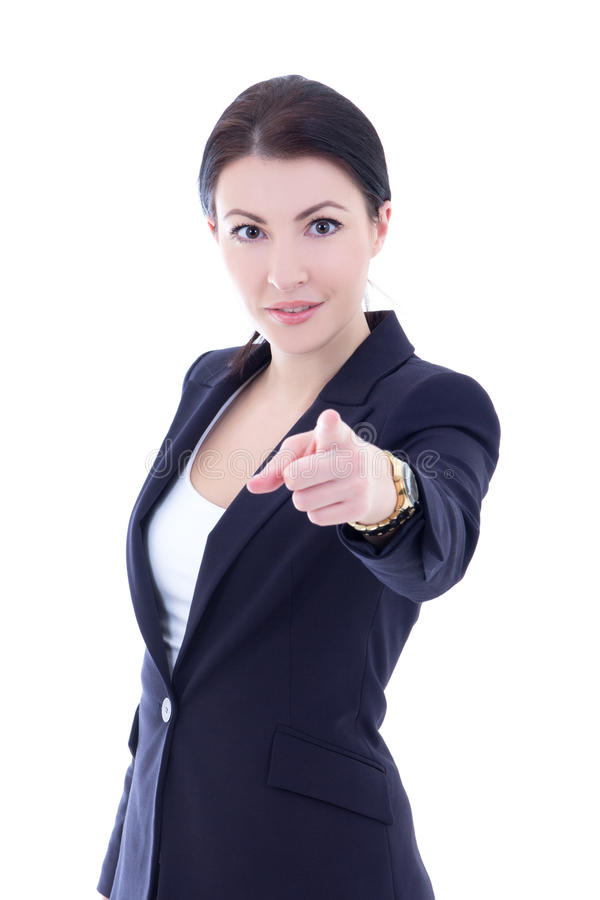 Portrait of young businesswoman pointing at you isolated on whit stock images