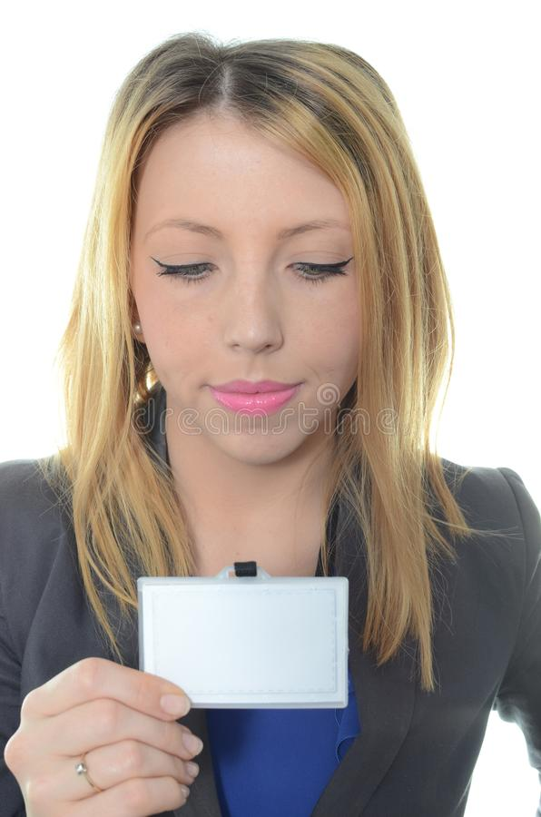 Portrait of young businesswoman. Signing contract stock photo