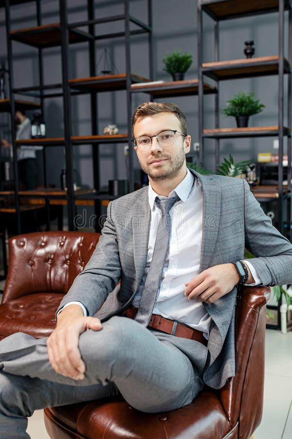 Portrait of young business man stock image