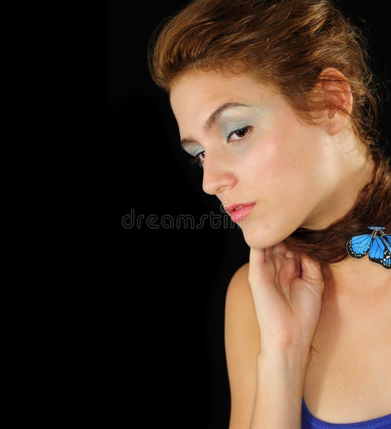 Portrait of young caucasian female model stock photos
