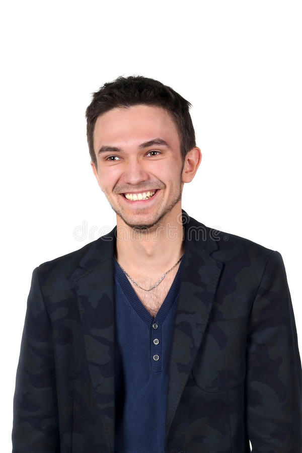 Portrait of young caucasian man smiling royalty free stock image