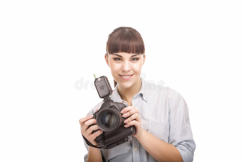 Portrait of Young Caucasian Woman Taking Images With Professional Photo Camera royalty free stock image