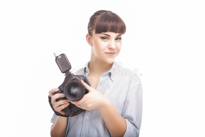 Portrait of Young Caucasian Woman Taking Images With Professional Photo Camera stock photos