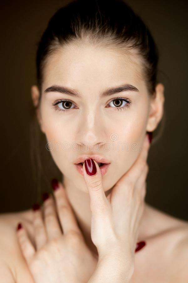 Portrait of young charming girl with natural makeup holding her hands on her face royalty free stock photos
