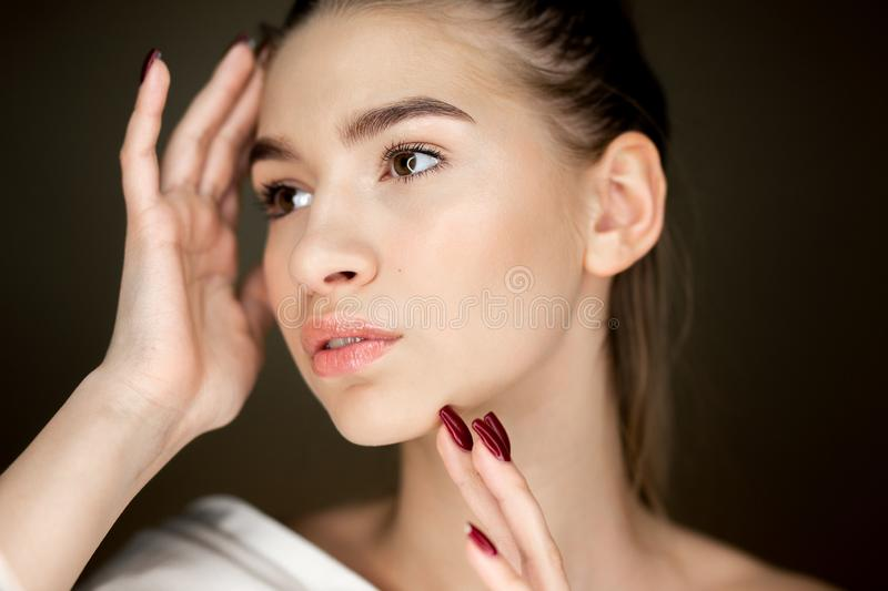 Portrait of young charming girl with natural makeup holding her hands on her face stock photography