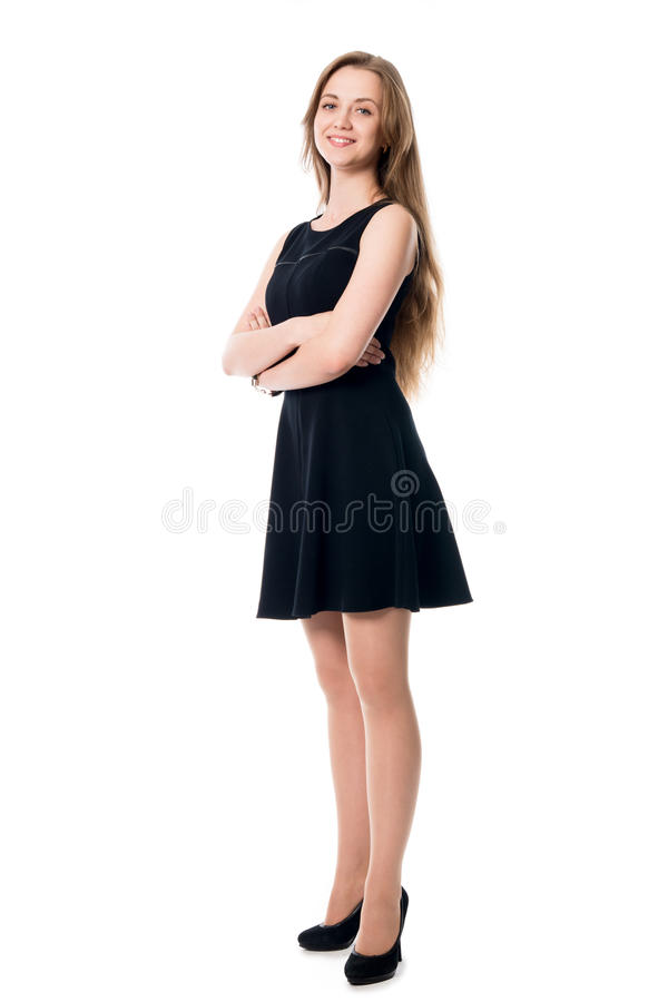 Portrait of young cheerful business woman in full growth. stock photos