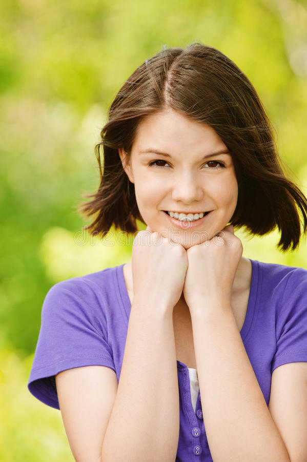 Download Portrait Of Young Cheerful Woman Stock Image - Image: 20386757