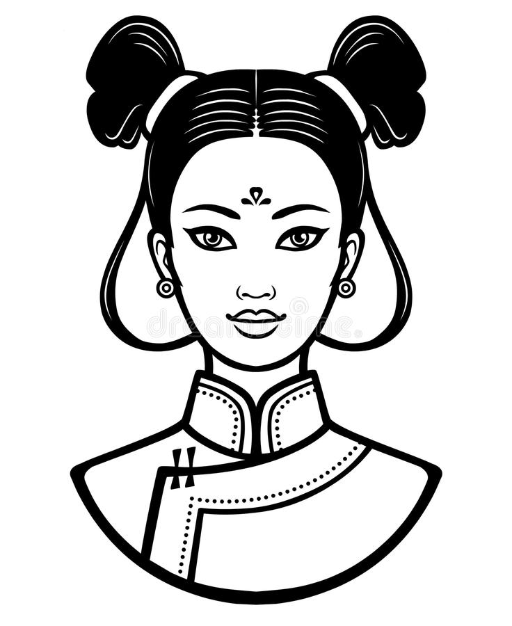 Download Portrait Of The Young Chinese Girl With An Ancient Hairstyle Stock Vector