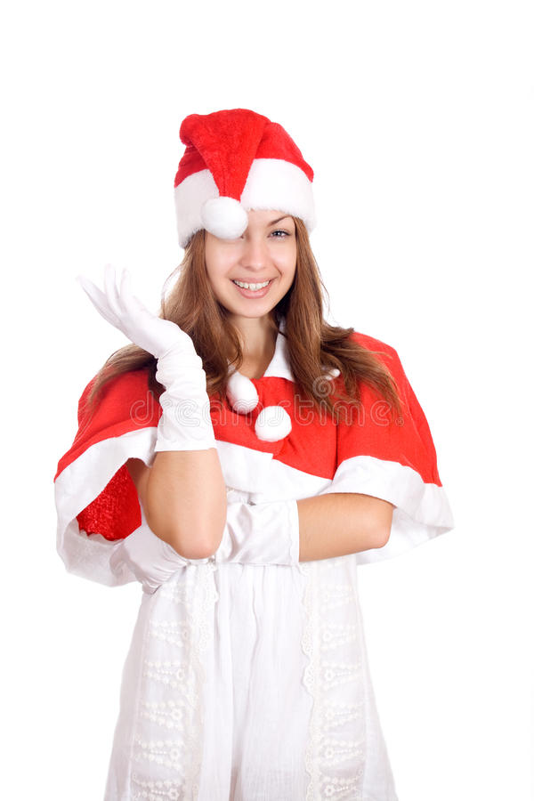 Portrait of a young christmas woman wondering stock photography